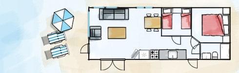 Plattegrond strandhuisje Willy Noord
