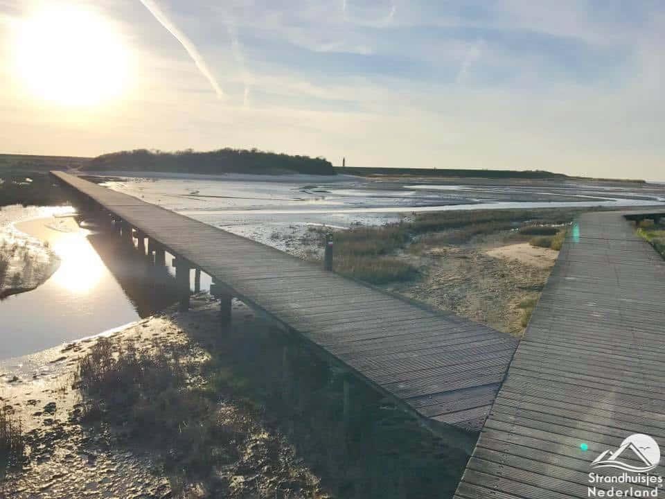 Strand Nieuwvliet houten plankier